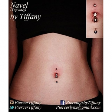 navel piercing I did today, the bottom was already